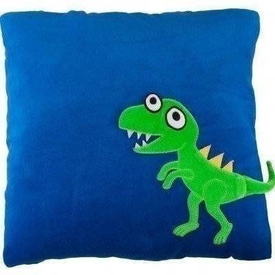 Kussen blauw T-rex