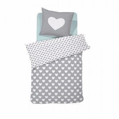 Hearts peuter dekbedovertrek 120x150 grey