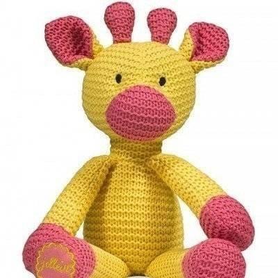 Knuffel Chunky knit giraffe geel