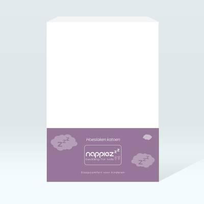 Katoenen hoeslaken 70x150 wit - Nappiez