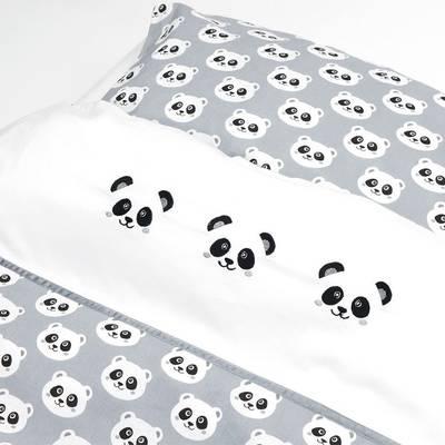 Panda peuter dekbedovertrek 120x150 - Grijs