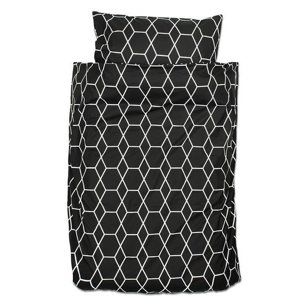 Grid peuter dekbedovertrek 120x150 - Zwart